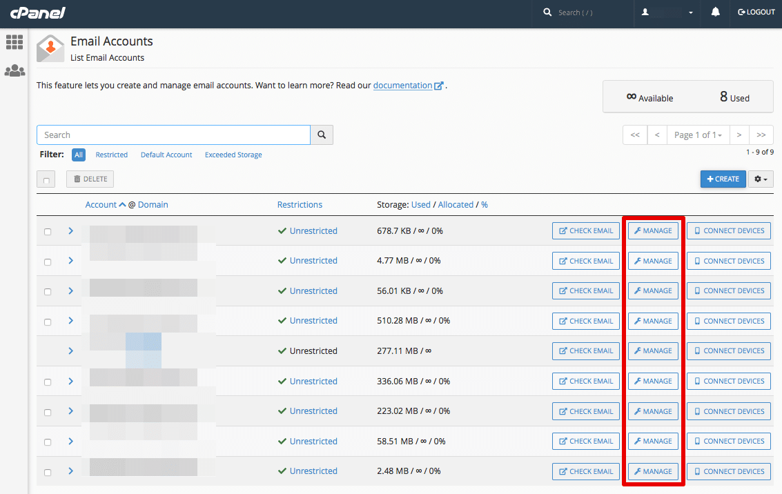 Click the Manage button in the same row as the email account you want to modify or delete