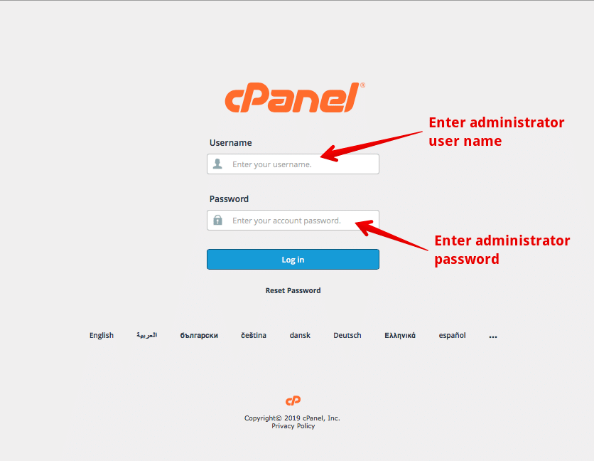 Enter the administrator user name and password